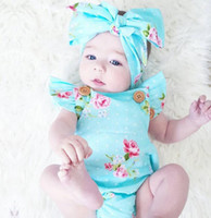 Wholesale Newborn Clothes China - Newborn Baby Girl Rompers 3M-12M Infant Clothing Floral Strap Jumpsuits Belt-Romper Set 2Pcs Infant Girl Clothes Summer China Import Clothes