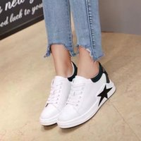 Wholesale Thick Sole Casual Black Shoes - 2017 Fashion Real Leather Casual Shoe Woman Thick Sole Height Increasing White Shoe Outdoor Top Quality Wholesale Price Cheap Sneaker