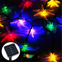Wholesale Solar Dragonflies - 20 LEDS LED Dragonfly Sttring Lights Solar Powered Outdoor Garden Fairy String Lights Party Décor Christmas Wedding