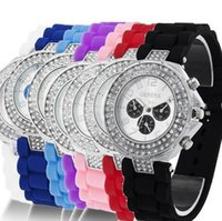 Wholesale Silicone Strap Shiny - 100pcs Geneva Double Diamond watch for women men silicone strap Shiny 3 eyes watches fashion free shipping via DHL