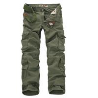 Wholesale Fit Cargo Pants - Wholesale-Men Workout Style Multi Pocket Cargo Pants Combat Casual Cotton Loose Long Straight Trousers Plus Size Slim Fit