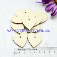 Wholesale Unfinished Wooden Cutouts - Wholesale- (150pcs lot) 30MM Unfinished Natural Wooden Heart Cutouts Crafts Love Shape With One Hole 1.2 inches-CT1203A
