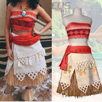 Wholesale Wholesale Woman Princess Dress - 30pcs Moana Cosplay Costume Sexy Princess Costume Halloween Suit Movie Moana Costume for Adult Women Party Dress Skirt Custom Made CS016