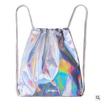 Wholesale New Arrival Shiny Laser Drawstring Bags Backpack Summer Women Teenager Swimwear Beach Bags Waterproof Casual Novelty School Backpack
