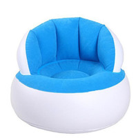 Wholesale Inflatable Plastic Furniture - Flocking Inflatable Sofa Lazy Boy Sofa Single Foldable Creative Bedroom Furniture Kids Type+Repair Package + Foot Pump