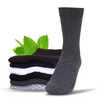 erkekler için iş çorapları toptan satış-Yeni Geliş Erkekler bambu elyaf çorap Katı Renk Klasik İş Erkekler Çorap Marka Casual Erkek Çorap en kaliteli