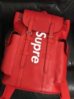 Wholesale Supreme X L V Red Jiont Limited Backpack M41709 Real Leather Christopher Release Hottest Sale Outdoor Bags Authentic Top Quality