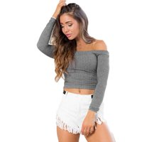 Wholesale Feitong Women Sexy Crop Tops Autumn Ladies Slash Neck Long Sleeve Tops Tight Knitted Sweater Casual Strapless Tee shirt femme