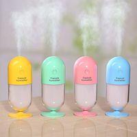 Wholesale Manual Capsule - 110ML Creative Capsule Shape Mini USB Humidifier Air Purifier with Colorful LED Night Light Ultrasonic Aroma Humidifier Mist Makers