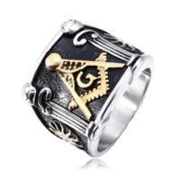 Wholesale Wholesale Masonic Rings - 3pcs lot mixed size Steel Gold men's ring jewelry 316l stainless steel Masonic freemasonry signet rings