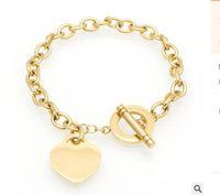 глянцевый браслет оптовых-Хорошее качество 18K glod любовь браслет ювелирных изделий сердце браслет для женщин золото Шарм браслет pulseiras известный бренд ювелирных изделий