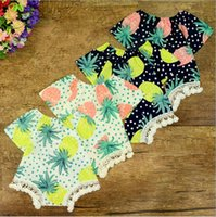 Wholesale Wholesale Pineapple Halfs - 2017 Babies Lace Tassel Rompers Bebe Print Pineapple Dots Jumpsuits Childrens Summer Fashion Romper Girls Clothing