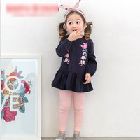 Wholesale Leggings Korean Flower - Girls clothing Sets 2017 New Girl's Flower Dress Shirt + Pant Leggings Fashion Spring Kids Clothes Sets Korean Princess Girl Outfits A6417