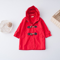 Wholesale Winter Jacket Horn Hooded - Everweekend Girls Horn Button Pocket Hooded Coat Sweet Baby Red Beige and Blue Color Western Fashion Fall Outerwear