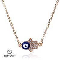 Wholesale Good Luck Crystal Necklace - Bohemian Good Luck Cluster Evil Eye Hamsa Hand of Fatima with diamond Solitaire pendant Necklace Turkish eye Jewelry