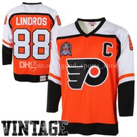 Wholesale Green Authentic - cheap Mens Philadelphia Flyers 88# Eric Lindros Mitchell & Ness Orange Throwback Authentic Vintage Jersey 100% stitched Hockey Jerseys