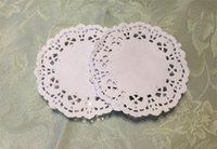 """Wholesale Cake Paper Lace - Wholesale-Free Shipping Creative Craft 3.5"""" Inch Round White Paper Lace Doilies Cake Placemat Party Wedding Gift Decoration 100pcs pack"""