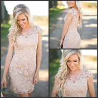 Wholesale dark champagne column wedding dresses sleeves for sale - Group buy Cheap Country Bridesmaid Dresses V Neck Full Lace Short Sleeves Champagne Sheath Wedding Guest Wear Party Dresses Maid of Honor Gowns