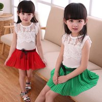 Wholesale Summer Baby Skirt Top - Baby Kids Clothing Clothing Sets summer 2017 newborn girls toddler clothes outfits white Lace Tops t-shirt + chiffon Skirt suit children