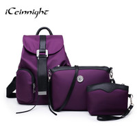 Wholesale buy pockets - Wholesale- iCeinnight buy 1 get 3 ! Nylon Backpacks High quality school backpacks for teenage girls women Travel Shoulder Bags Clutch
