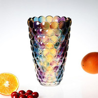 Wholesale Top Quality Colorful Glass Point Vase Flower Shape Vases Interior Design Luxury European Modern Style Decorative Art Vase Table Decoration