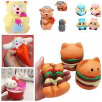 ingrosso orsi di fragole-Squishy Toy hamburger bear Profumato Kawaii Squishies Slow Rising Strawberry Anima Soft Spremere Cute Strap KKA2861