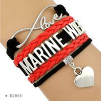 Wholesale Infinity Marine - (10 Pieces Lot)Infinity Love Marine Wife Heart Charm Leather Wrap Cuff Bracelets For Women Men Girl Jewelry