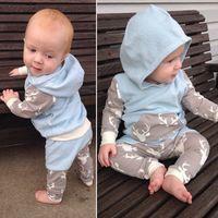 Wholesale Deer Baby Coat - 2017 new autumn baby Boys clothes cotton long sleeve Deer hoodie coat+pants kids 2pcs suit baby boy clothing sets infant clothin