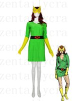 Wholesale Super Man Costume Party - Green & Yellow X-men Phoenix   Marvel Girl Spandex Superhero Costume Party Halloween carnival costumes