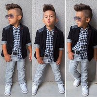 Wholesale Jeans Jacket Sets - new spring boys beautiful jeans wear clothes kids suits children boys jacket plaid shirt denim pants 3pcs Clothing Set