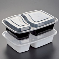 Wholesale Storage Containers Compartments - 900ML Disposable Plastic Food Container 2-compartment Food Meal Storage Holoder 2 colors Take Out Box Tableware