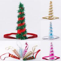 princesa natal decorações venda por atacado-Cospaly Chifre Decorações de Natal Hairbands Crianças dos desenhos animados Acessório de Cabelo Crianças Glitter Ouro Princesa Presente da menina Headbands