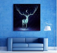 toile allongée légère achat en gros de-Led Light Wall Art Canvas Spray Peinture Light Up Stretched and Framed Artwork Livraison gratuite Canvas Printing Deer For Home Decor