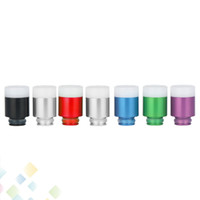 Wholesale Aluminium Tips - Aluminium Resin Drip Tip 7 holes Drip Tips filter Wide Bore Drip Tips Colorful Buttons Style fit 510 Atomizers DHL Free