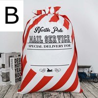 Wholesale Xmas Presents - xmas red white striped envelop canvas santa sack Christmas drawstring gift bags kids candy bag indoor decoration X-mas presents bags 50*70cm