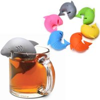 Wholesale Coffee Shark - 3 PC Cute Silicone Shark tea infuser Leaf Strainer Herbal Spice Filter Diffuser Filter Teapot Teabags for Tea & Coffee Drinkware