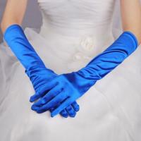 ingrosso guanti satinati blu blu-2017 New Red Black Royal Blue Long Satin Elegante per la sposa Guanti da sposa da sposa Donna Abiti da sposa gants mariage luvas de noi