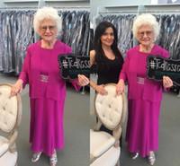 ingrosso i vestiti dalla sposa della madre calda più il formato-Hot Pink Madre della Sposa Abiti con giacca Plus Size Chiffon Mother Groom Dress Cheap Wedding Guest Gown per abiti da sera