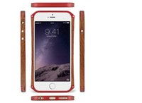 "Wholesale Bumper Iphone5 Black Red - Luxury Cell Phone Wooden Case+ Aluminum Metal Bumper Cover For iPhone5 5s 6 4.7"" 5.5"" With leather Skin + Retail Package"
