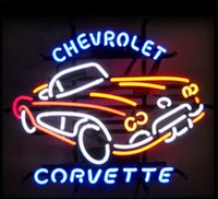 Wholesale Chevrolet Neon Signs - Fashion Handcraft Chevrolet Corvette Real Glass Beer Bar Display neon sign 19x15!!!Best Offer!