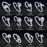Wholesale zodiac rings - Zodiac s925 silver rings Female opening CZ Ring European and American retro ring ring couple ring finger Rings Twelve constellations 080034