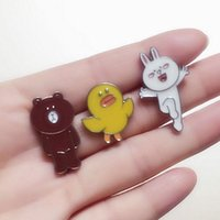 Wholesale Sally Metal - Wholesale- fashion jewelry accessories metal enamel cony rabbit sally bird brown bear badge brooch pin