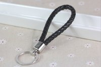 Wholesale Leather Strap Lanyard - The leather Keychain Key Ring Pendant car mobile phone leather rope woven leather strap for for Keys Phones ID Card Lanyard free shipping