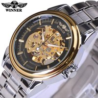 Wholesale Hollow Skeleton - Winner Mechanical Watch Men Top Brand Hollow Skeleton Automatic Mechanical Watch Men Steampunk Steel Gear Watch Erkek Saat