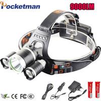 Wholesale Head Flashlight Dive - LED Headlight 9000 Lumens Headlamp Cree Xml T6 Headlights Lantern 4 Mode Waterproof Front Torch Head 18650 Rechargeable Battery