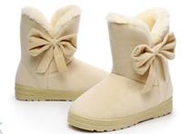 Wholesale Black Platform Suede Boots - HEE GRAND 2016 Winter Snow Boots Bowtie Women Boot Flock Warm Inside Platform Flat Ankle Boots Casual Flats Shoes Woman size 35-41