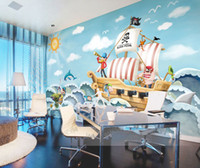 Wholesale Paper Wallpaper Baby - Wholesale-High Quality Wholesale Boat Jack Sparrow Mural Pirate 3d Cartoon Mural Wallpaper for Baby Children Kids Room 3d Wall Murals