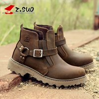 Wholesale Short Leather Cowboy Boots - High quality fashion casual shoes men boots, boots Martin autumn and winter boots British army boots trend Short Boots Men