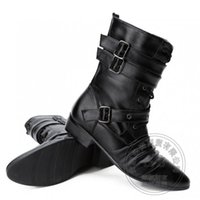 Soft Leather Lace Up New Stylish Horse Riding Men Botas ocidentais Cowboy plissado cinto Pointy Zip Square Cubano Heel Funky