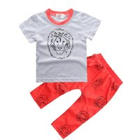 Wholesale Baby Boy Trouser Grey - Lion Baby Boys Clothes Set Summer Babe Grey T-Shirt Long Pant 100% Cotton 70 80 90 100 Toddler Clothing Suit Outfits Red Trouser Soft Tees